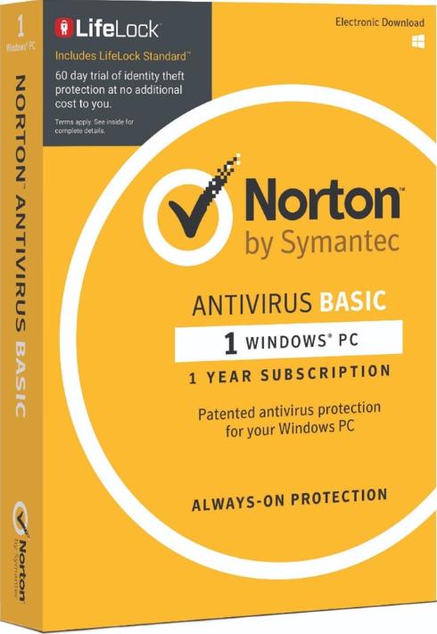 Norton AntiVirus Basic 1 PC 1Year Symantec Key North America